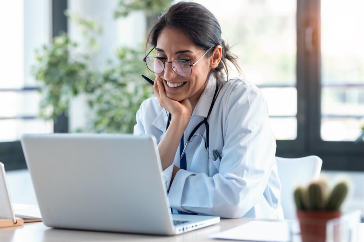 Veterinarian working on her laptop